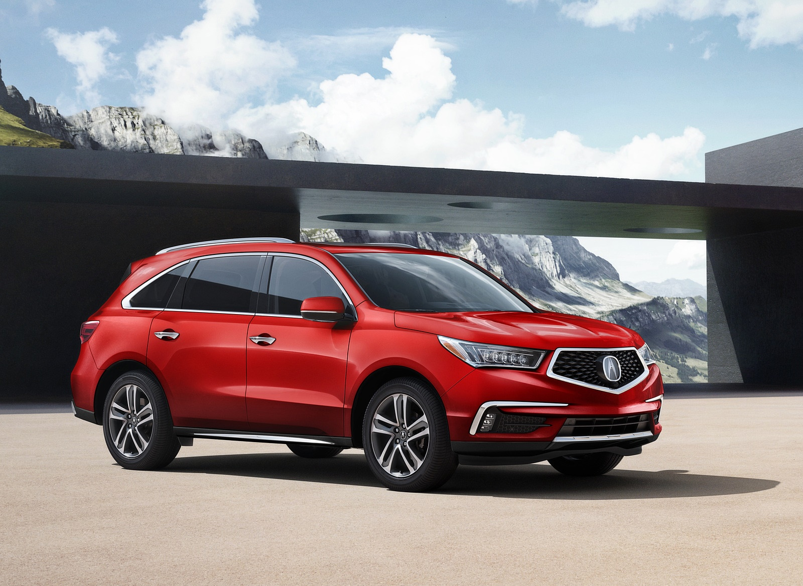 2018 Acura MDX with Advance Package (Color: San Marino Red) Front Three-Quarter Wallpapers (5)