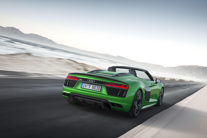 2018 Audi R8 Spyder V10 plus (Color: Micrommata Green) Rear Three-Quarter Wallpapers (3)