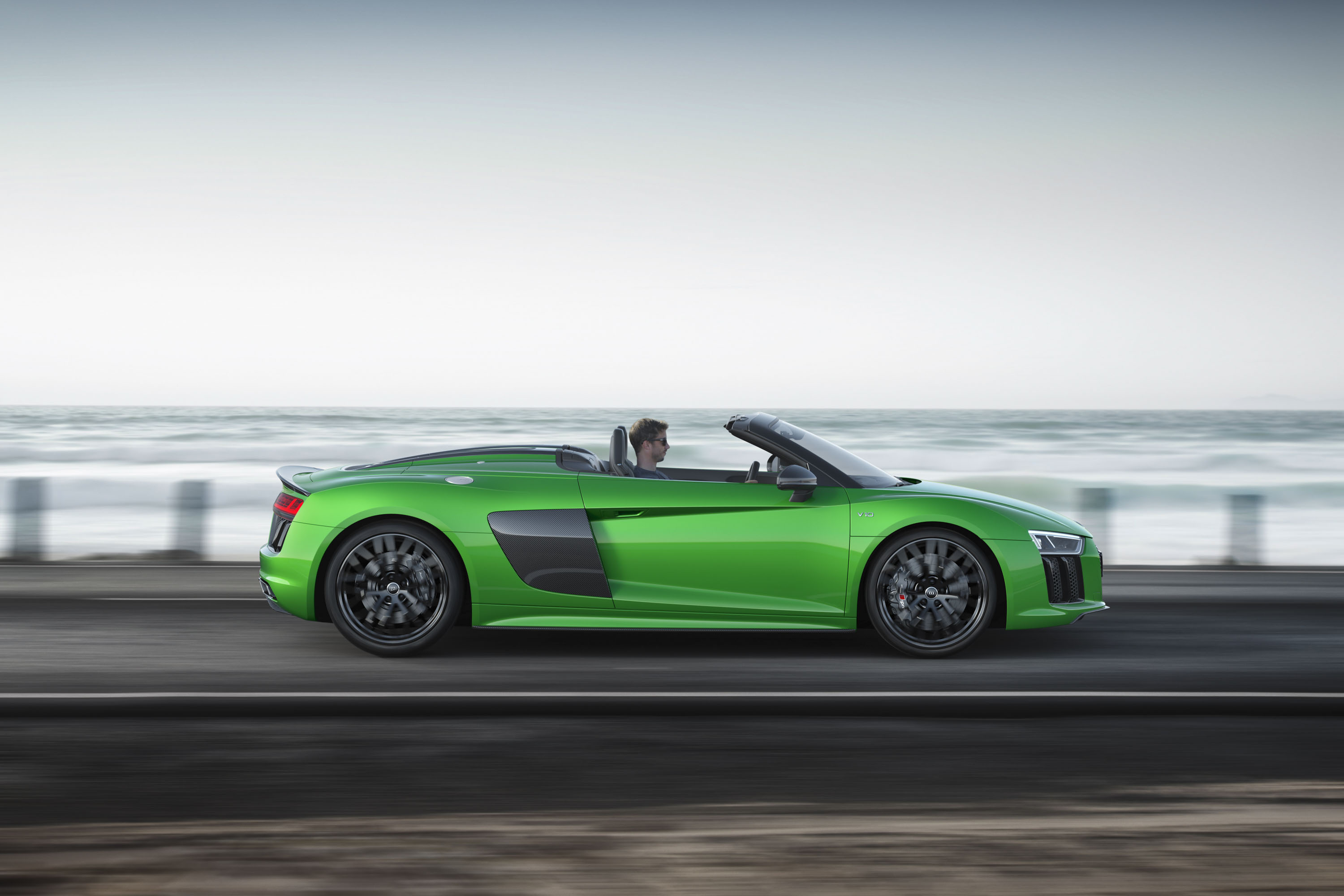 2018 Audi R8 Spyder V10 plus (Color: Micrommata Green) Side Wallpapers (2)