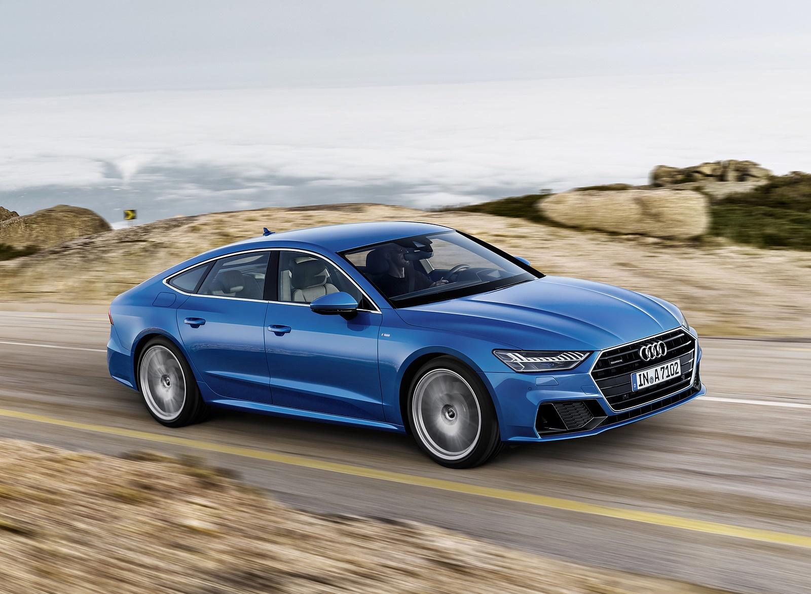 2019 Audi A7 Sportback (Color: Ara Blue) Front Three-Quarter Wallpaper (1)