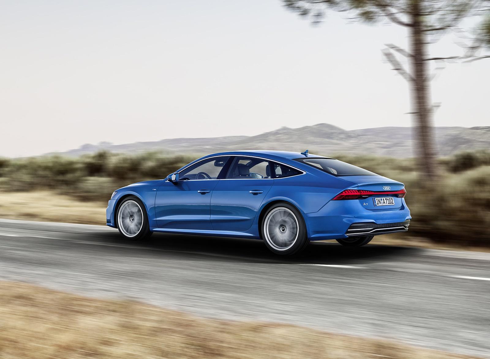 2019 Audi A7 Sportback (Color: Ara Blue) Rear Three-Quarter Wallpaper (2)
