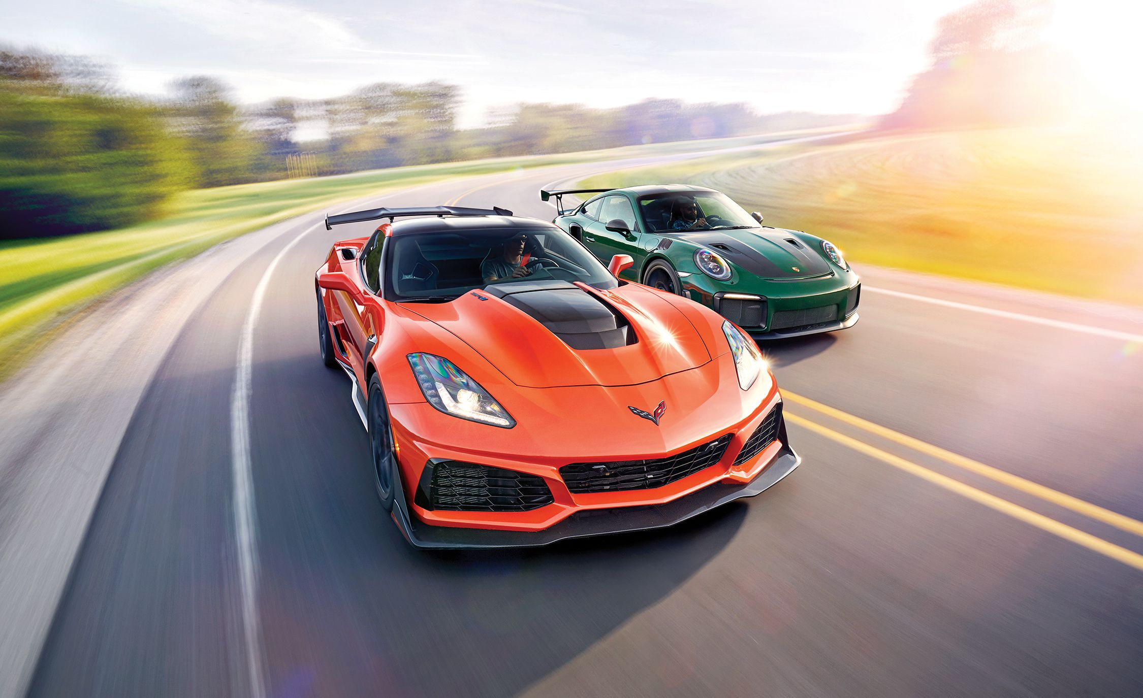 2019 Chevrolet Corvette ZR1 and 2018 Porsche 911 GT2 RS Front Wallpapers (1)