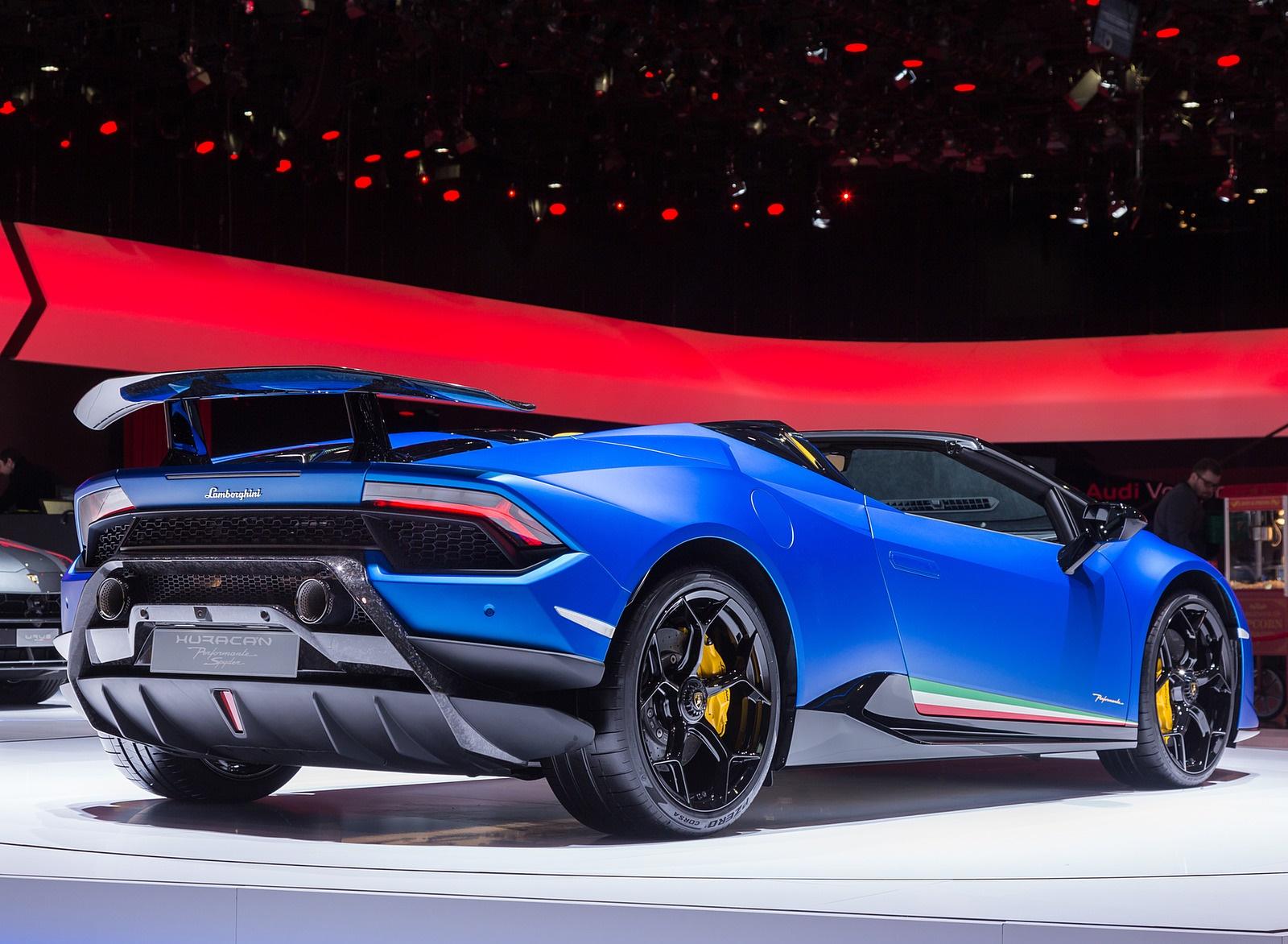 2019 Lamborghini Huracan Performante Spyder Rear Three Quarter