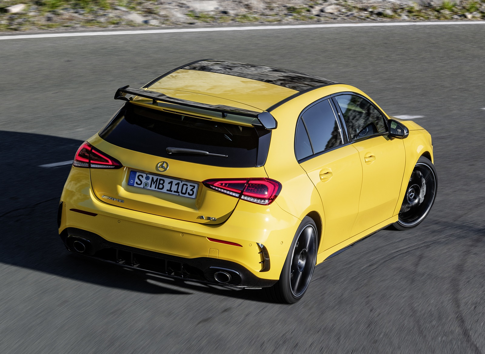 2019 Mercedes-AMG A35 4MATIC (Color: Sun Yellow) Rear Three-Quarter Wallpapers (11)