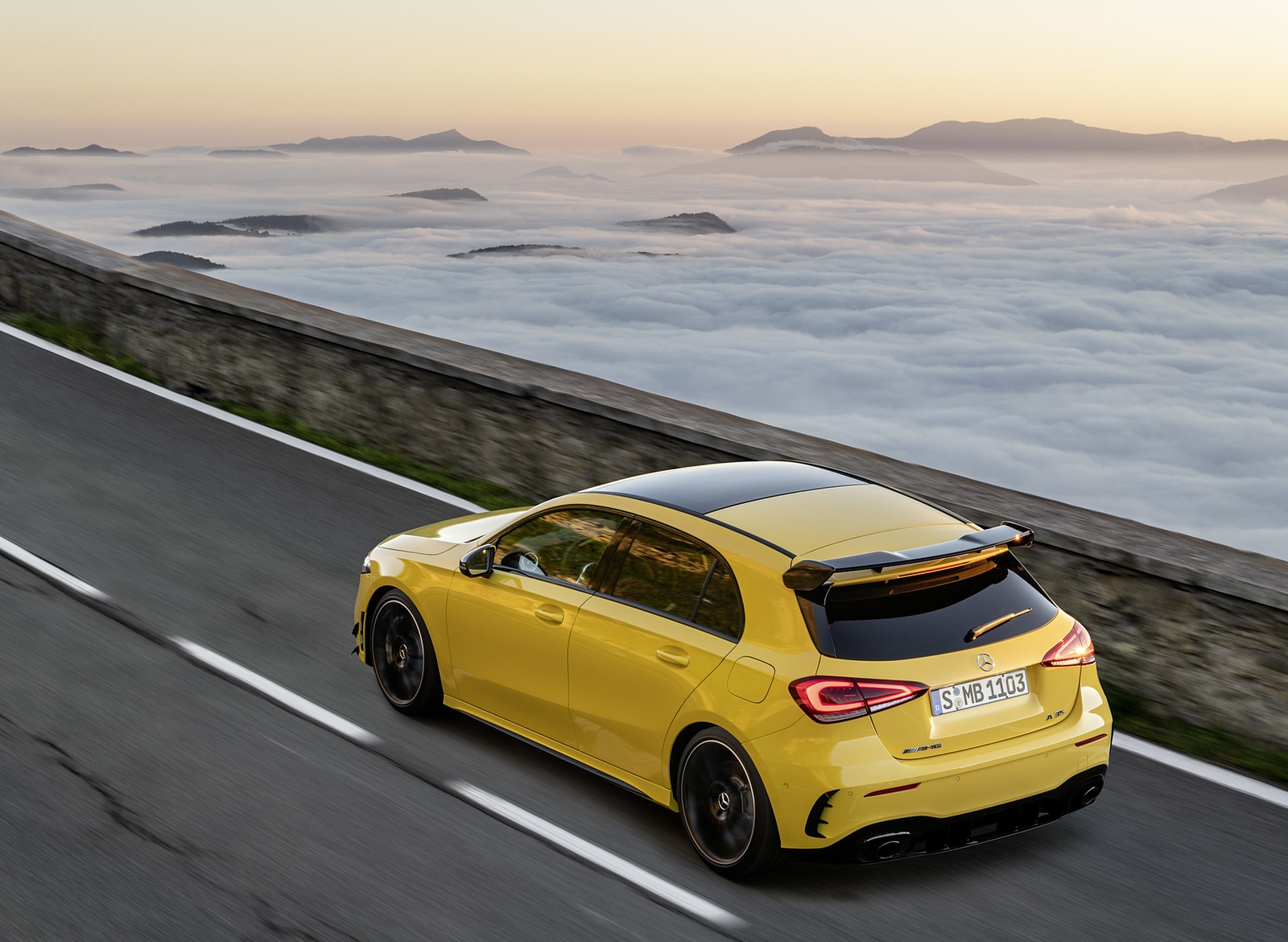 2019 Mercedes-AMG A35 4MATIC (Color: Sun Yellow) Rear Three-Quarter Wallpapers (10)