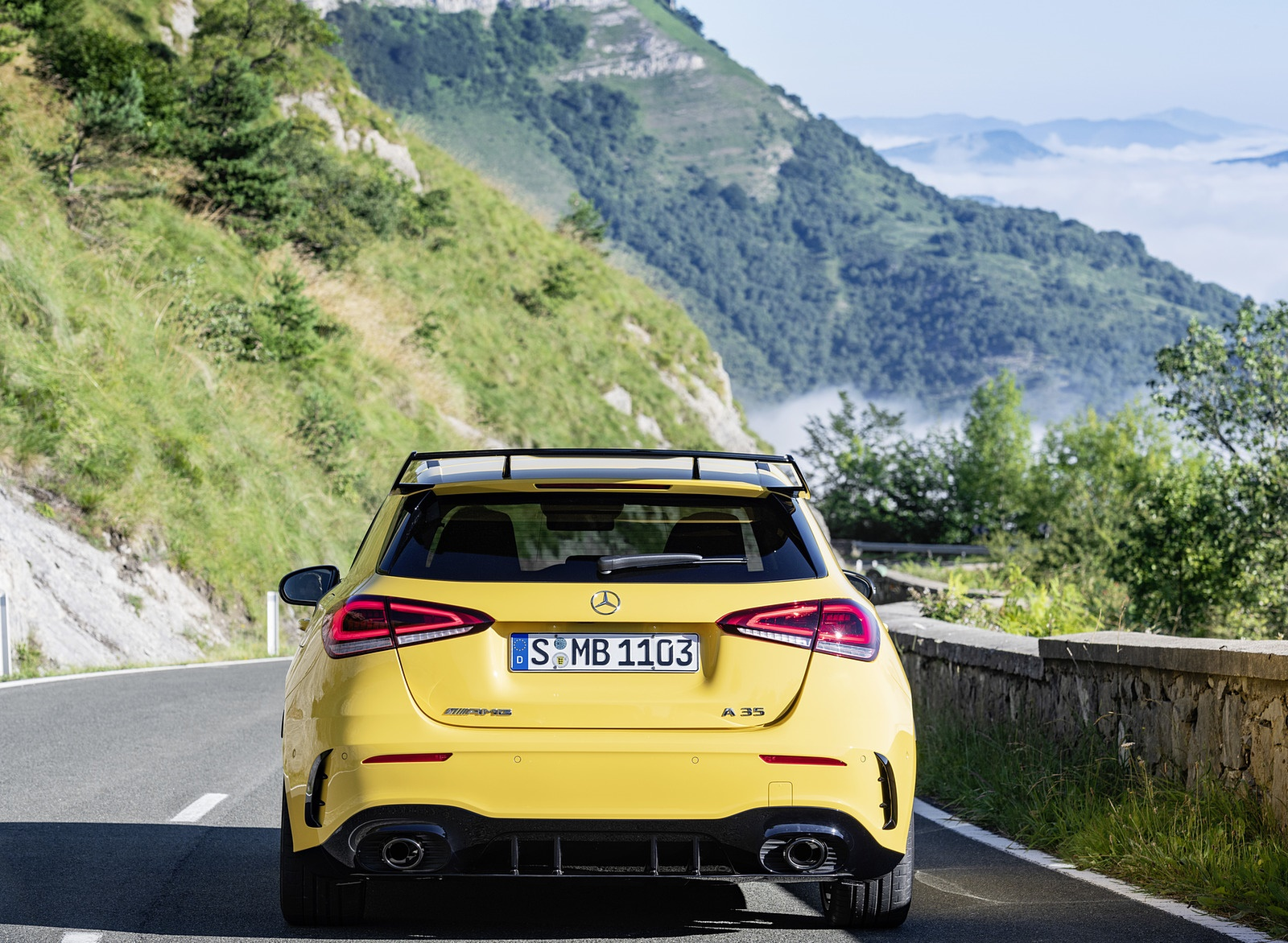 2019 Mercedes-AMG A35 4MATIC (Color: Sun Yellow) Rear Wallpapers (9)