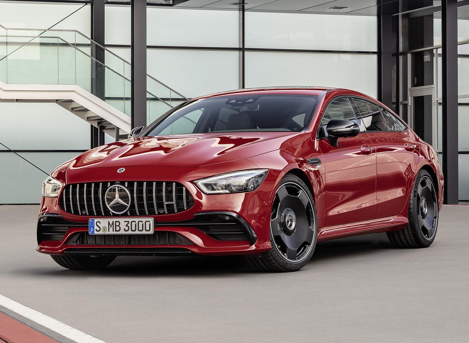 2019 Mercedes-AMG GT 43 4MATIC+ 4-Door Coupé (Color: Jupiter Red) Front Three-Quarter Wallpapers (5)