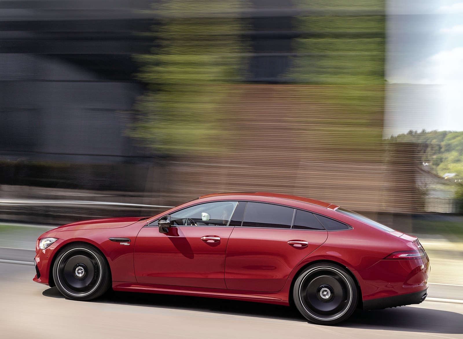 2019 Mercedes-AMG GT 43 4MATIC+ 4-Door Coupé (Color: Jupiter Red) Side Wallpapers (2)