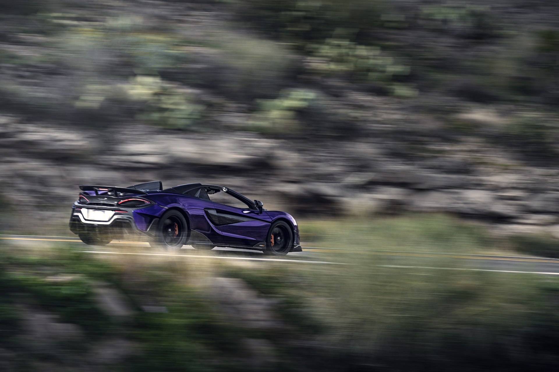 2020 McLaren 600LT Spider (Color: Lantana Purple) Rear Three-Quarter Wallpaper (14)