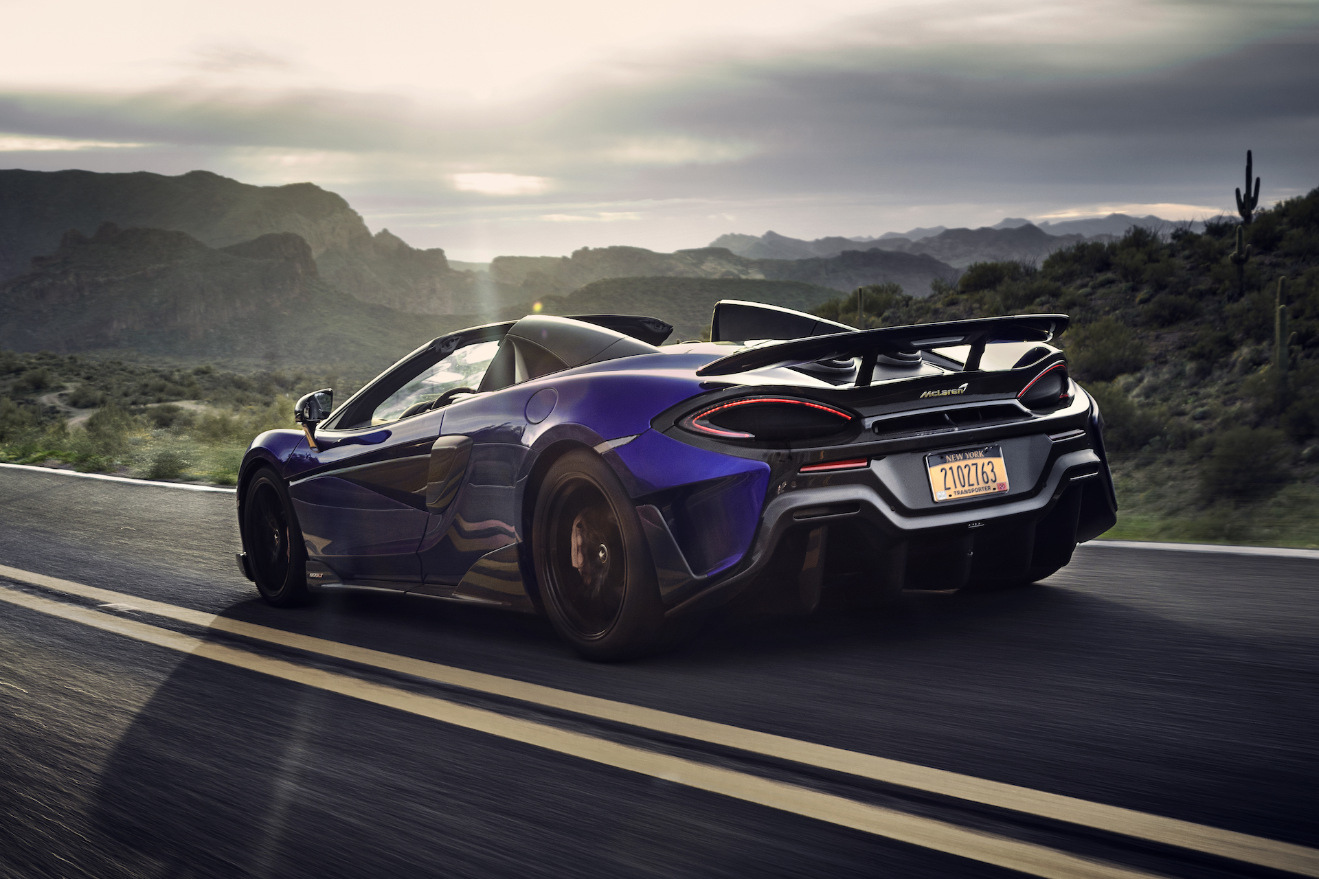 2020 McLaren 600LT Spider (Color: Lantana Purple) Rear Three-Quarter Wallpaper (9)