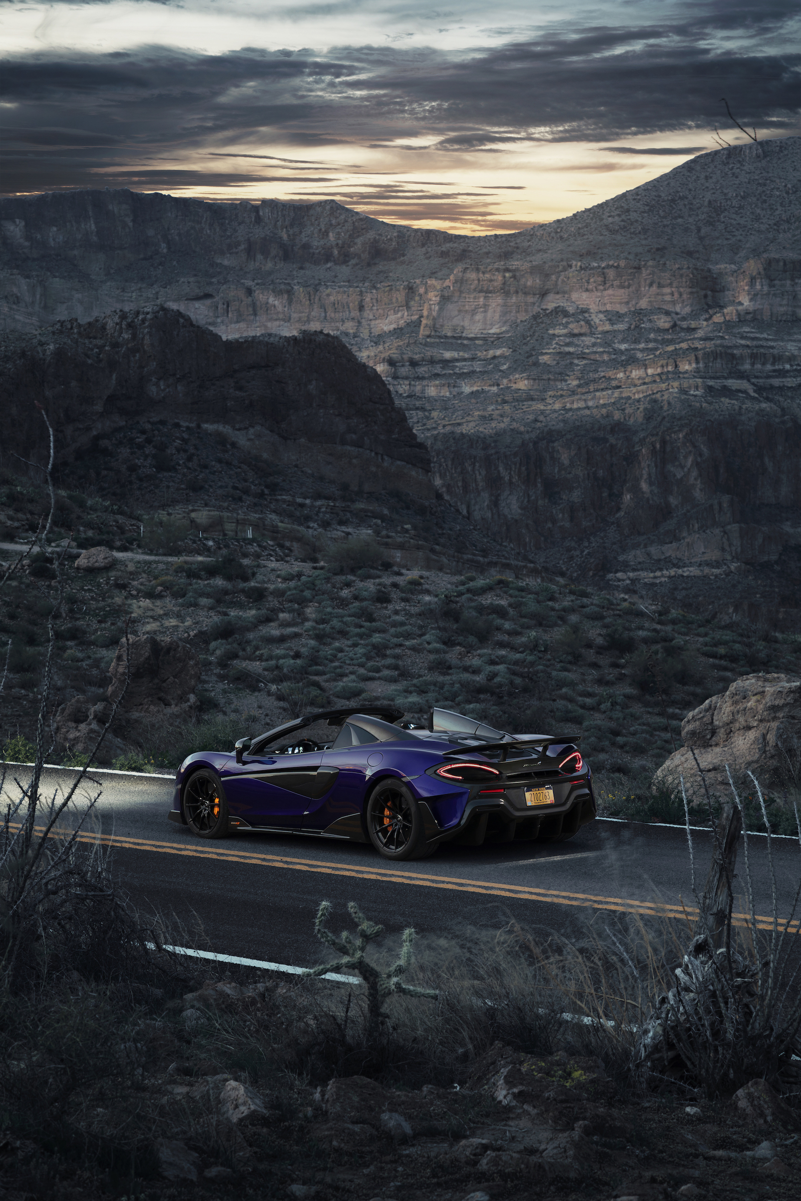 2020 McLaren 600LT Spider (Color: Lantana Purple) Rear Wallpaper (15)