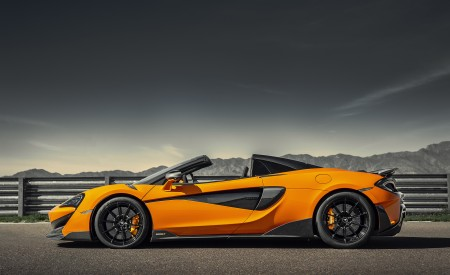 2020 McLaren 600LT Spider (Color: Myan Orange) Side Wallpaper 450x275 (44)