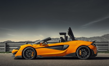 2020 McLaren 600LT Spider (Color: Myan Orange) Side Wallpaper 450x275 (46)