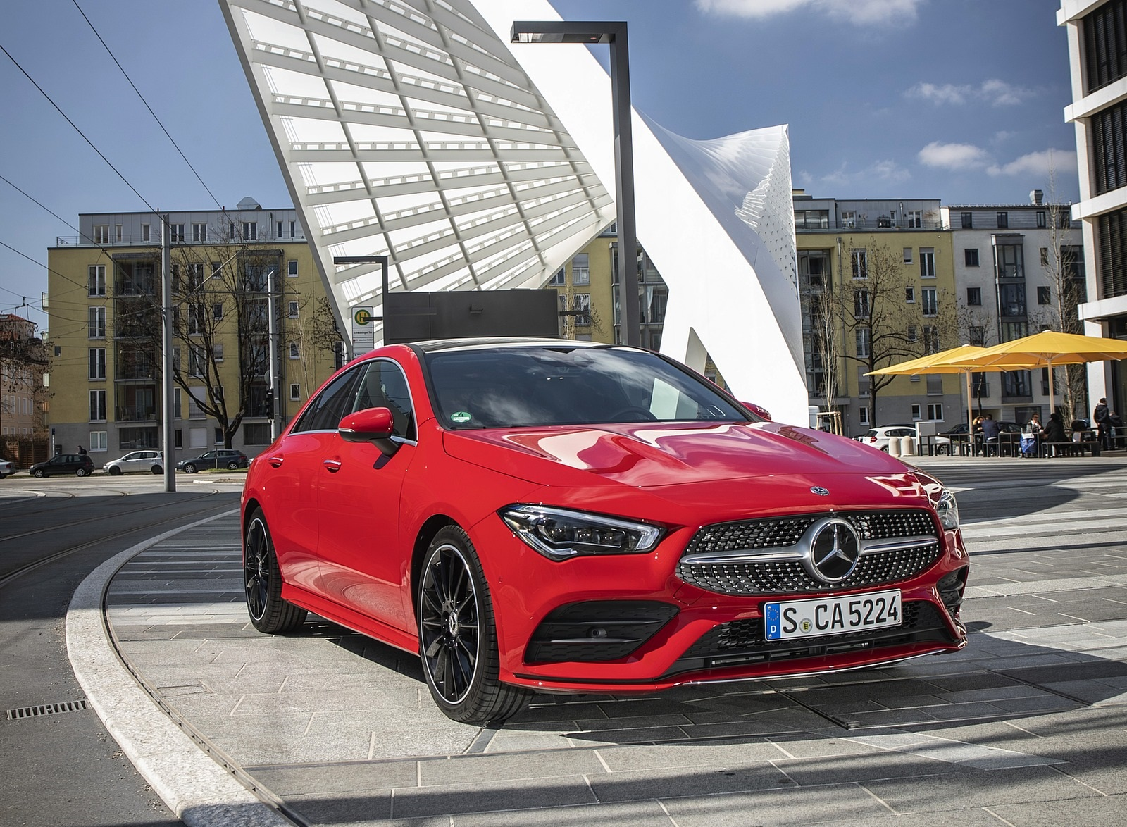 2020 Mercedes-Benz CLA 250 4MATIC Coupe AMG Line (Color: Jupiter Red) Front Three-Quarter Wallpapers (8)