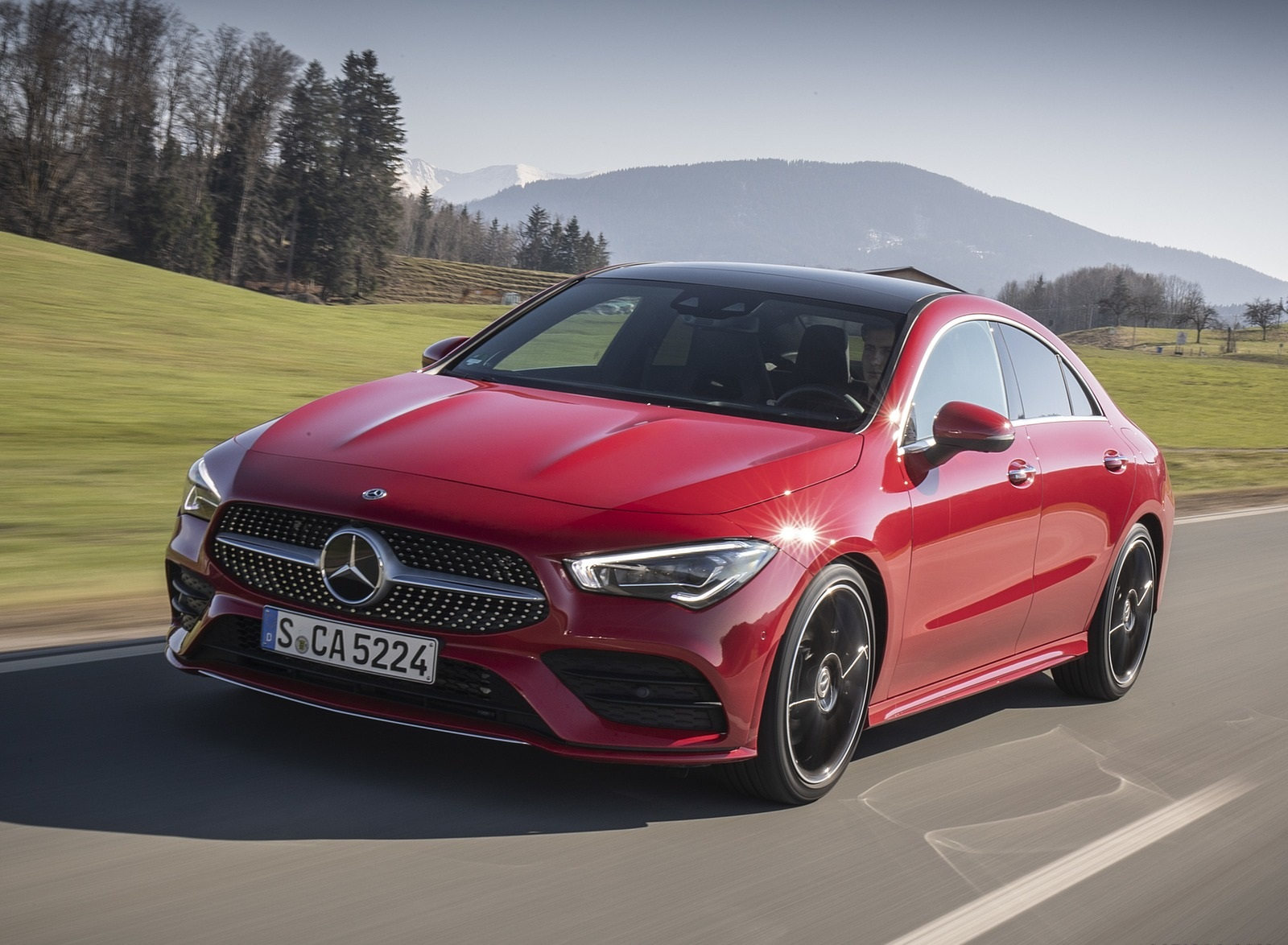 2020 Mercedes-Benz CLA 250 4MATIC Coupe AMG Line (Color: Jupiter Red) Front Three-Quarter Wallpapers (3)