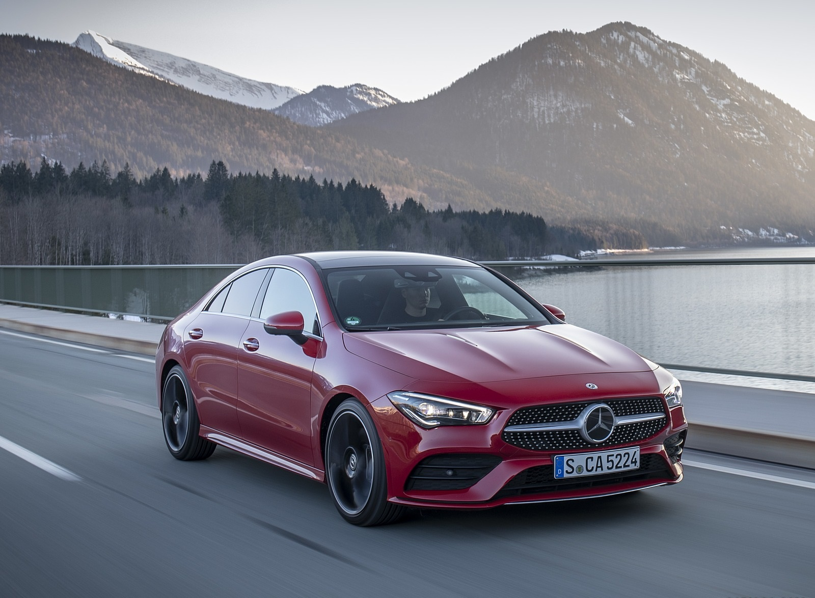 2020 Mercedes-Benz CLA 250 4MATIC Coupe AMG Line (Color: Jupiter Red) Front Three-Quarter Wallpapers (4)