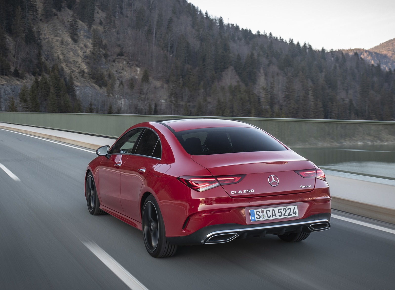 2020 Mercedes-Benz CLA 250 4MATIC Coupe AMG Line (Color: Jupiter Red) Rear Three-Quarter Wallpapers (5)