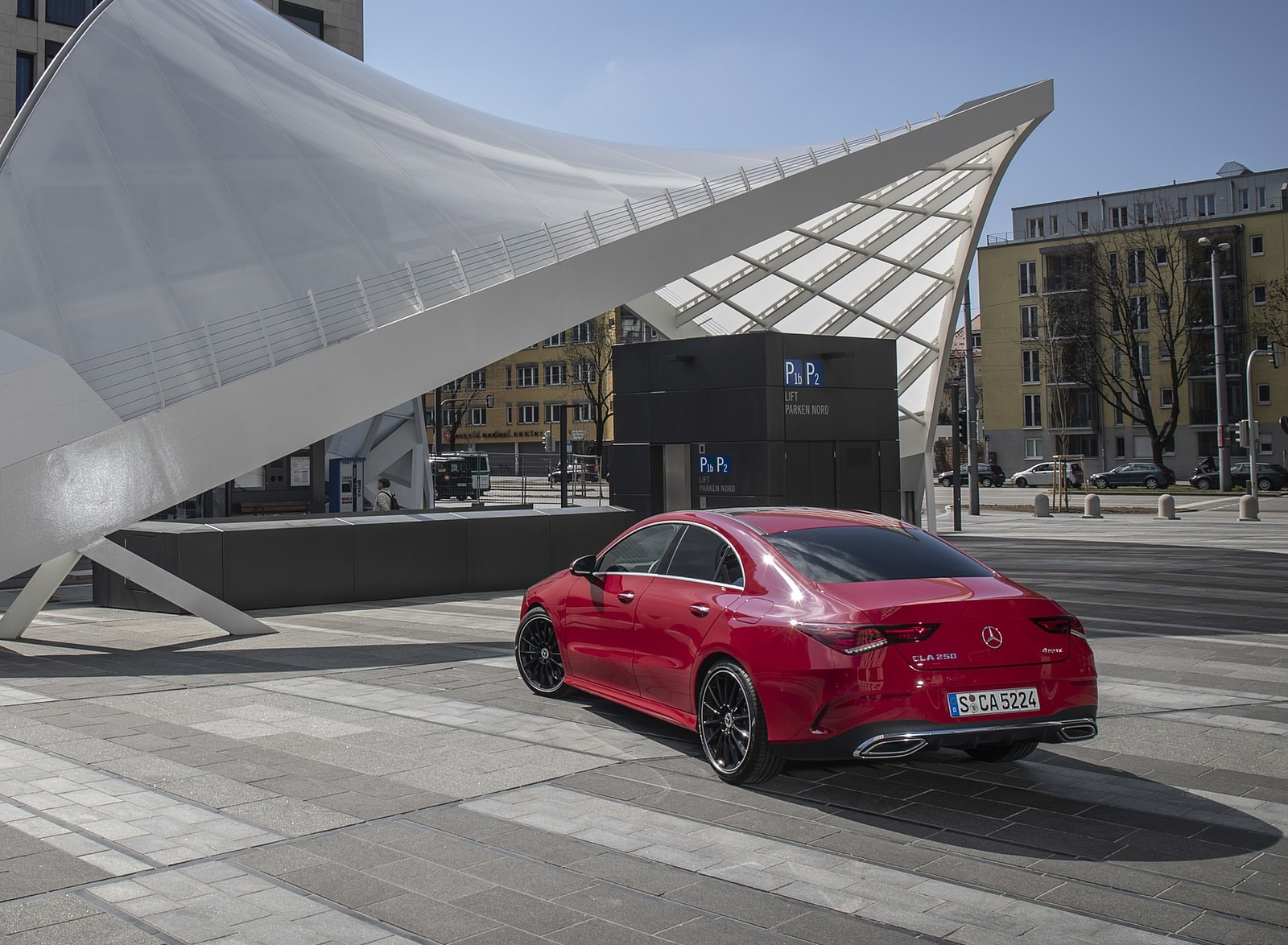 2020 Mercedes-Benz CLA 250 4MATIC Coupe AMG Line (Color: Jupiter Red) Rear Three-Quarter Wallpapers (10)