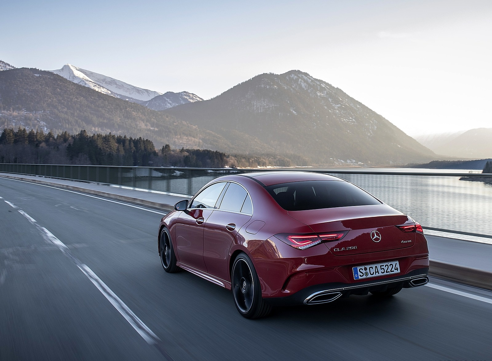 2020 Mercedes-Benz CLA 250 4MATIC Coupe AMG Line (Color: Jupiter Red) Rear Three-Quarter Wallpapers (7)