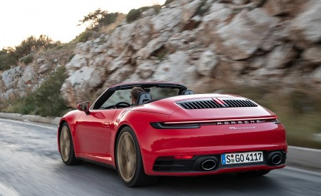 2020 Porsche 911 Carrera 4S Cabriolet (Color: India Red) Rear Three-Quarter Wallpaper 450x275 (60)
