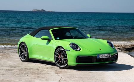 2020 Porsche 911 Carrera S Cabriolet (Color: Lizard Green) Front Three-Quarter Wallpaper 450x275 (17)