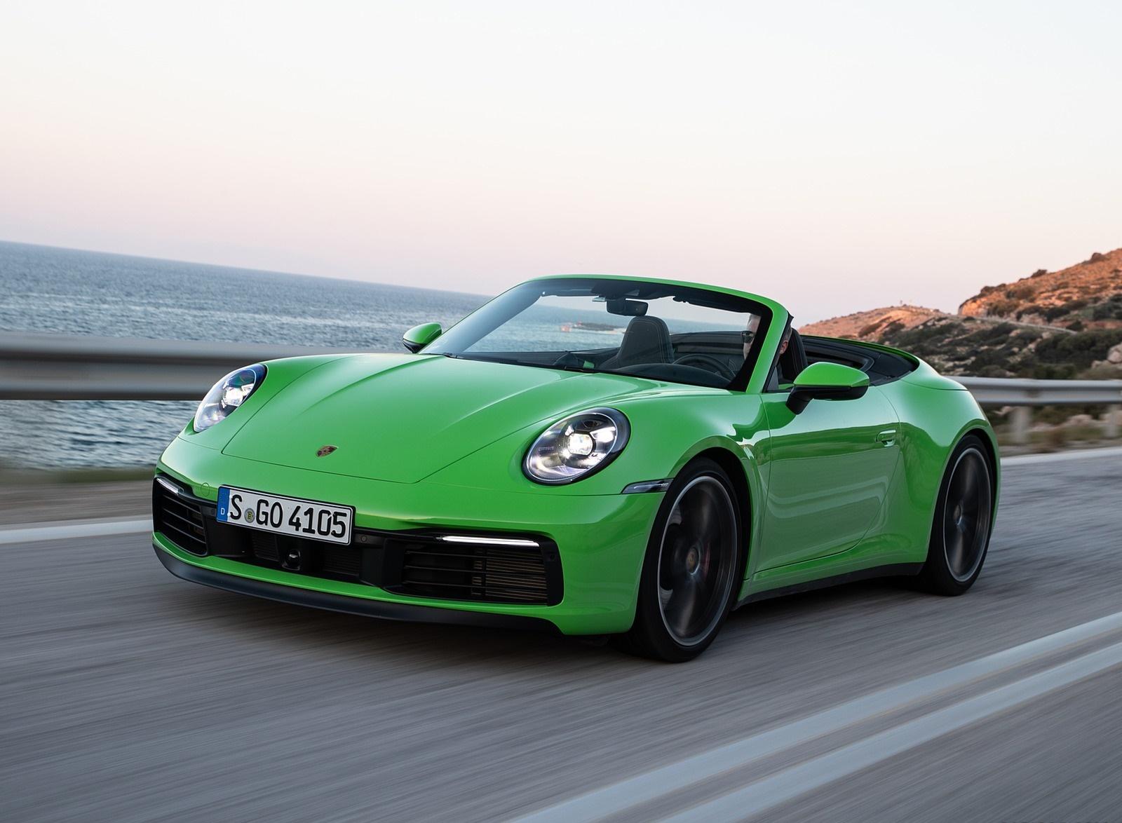 2020 Porsche 911 Carrera S Cabriolet (Color: Lizard Green) Front Three-Quarter Wallpapers (2)