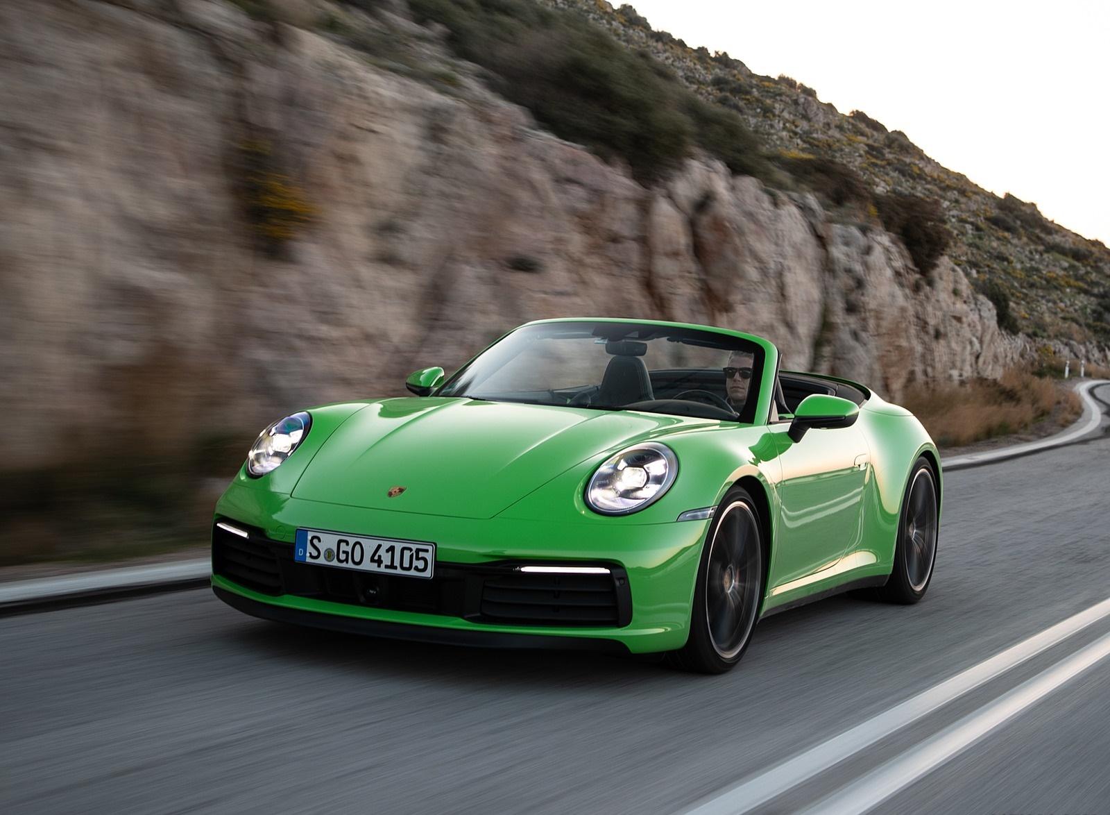2020 Porsche 911 Carrera S Cabriolet (Color: Lizard Green) Front Three-Quarter Wallpapers (7)