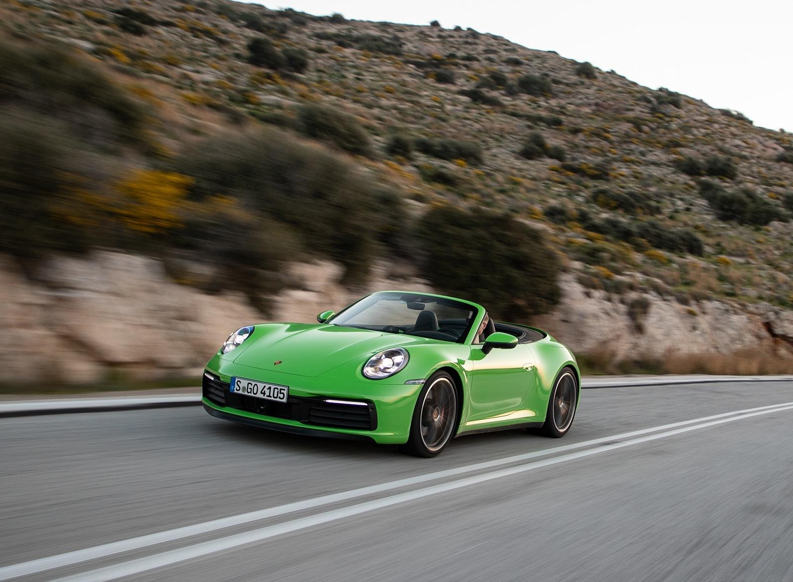 2020 Porsche 911 Carrera S Cabriolet (Color: Lizard Green) Front Three-Quarter Wallpapers (9)