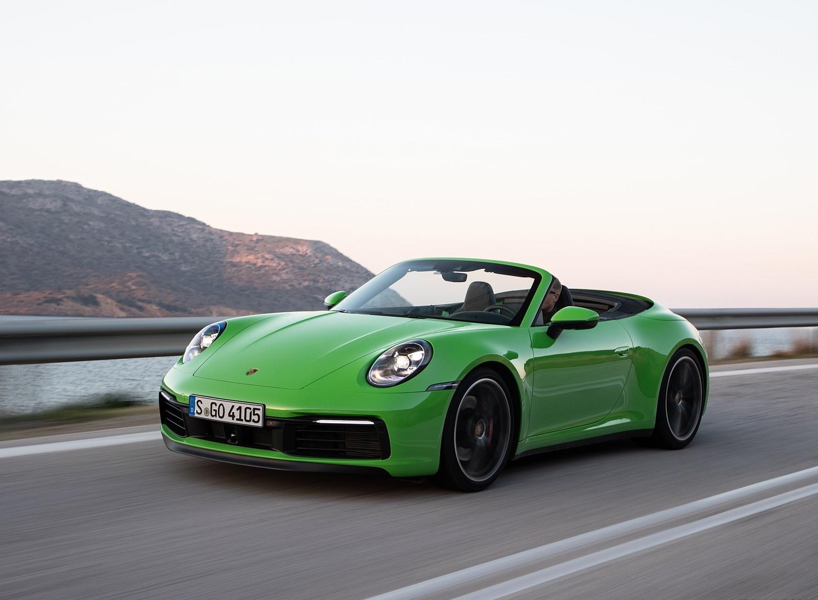 2020 Porsche 911 Carrera S Cabriolet (Color: Lizard Green) Front Three-Quarter Wallpapers (3)