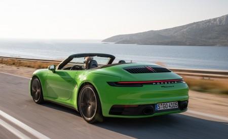 2020 Porsche 911 Carrera S Cabriolet (Color: Lizard Green) Rear Three-Quarter Wallpaper 450x275 (4)