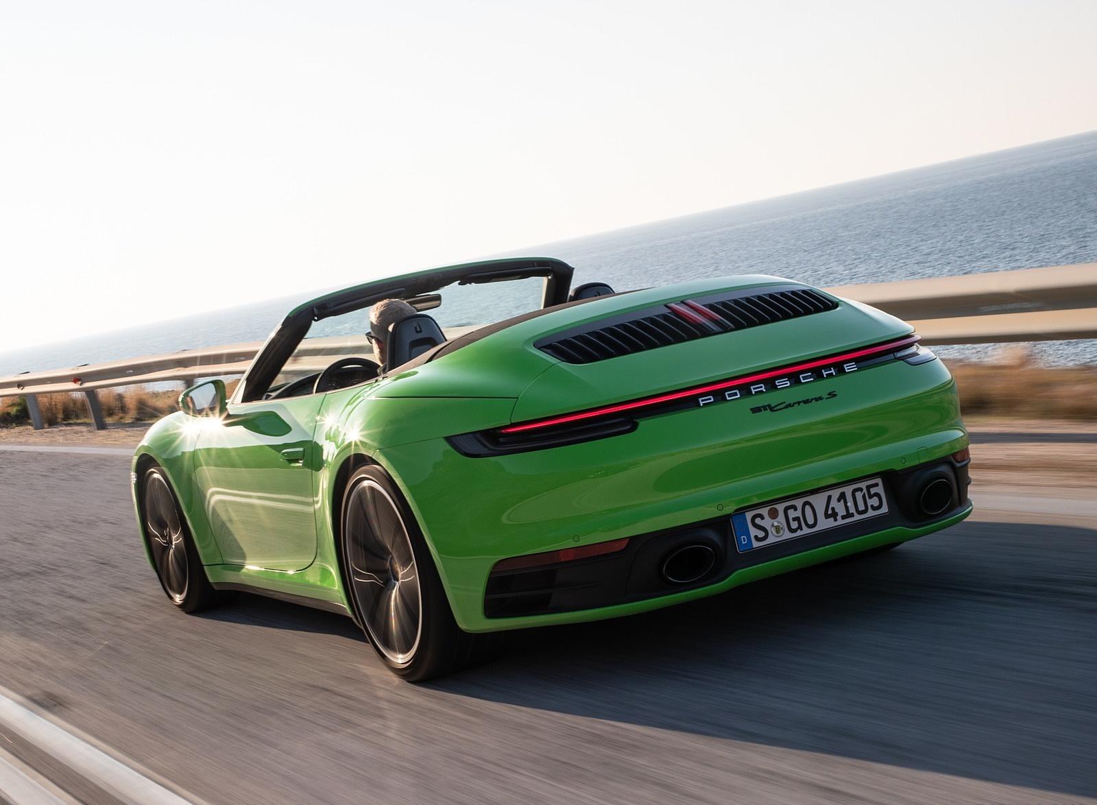 2020 Porsche 911 Carrera S Cabriolet (Color: Lizard Green) Rear Three-Quarter Wallpapers (5)