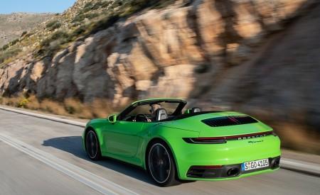 2020 Porsche 911 Carrera S Cabriolet (Color: Lizard Green) Rear Three-Quarter Wallpaper 450x275 (12)
