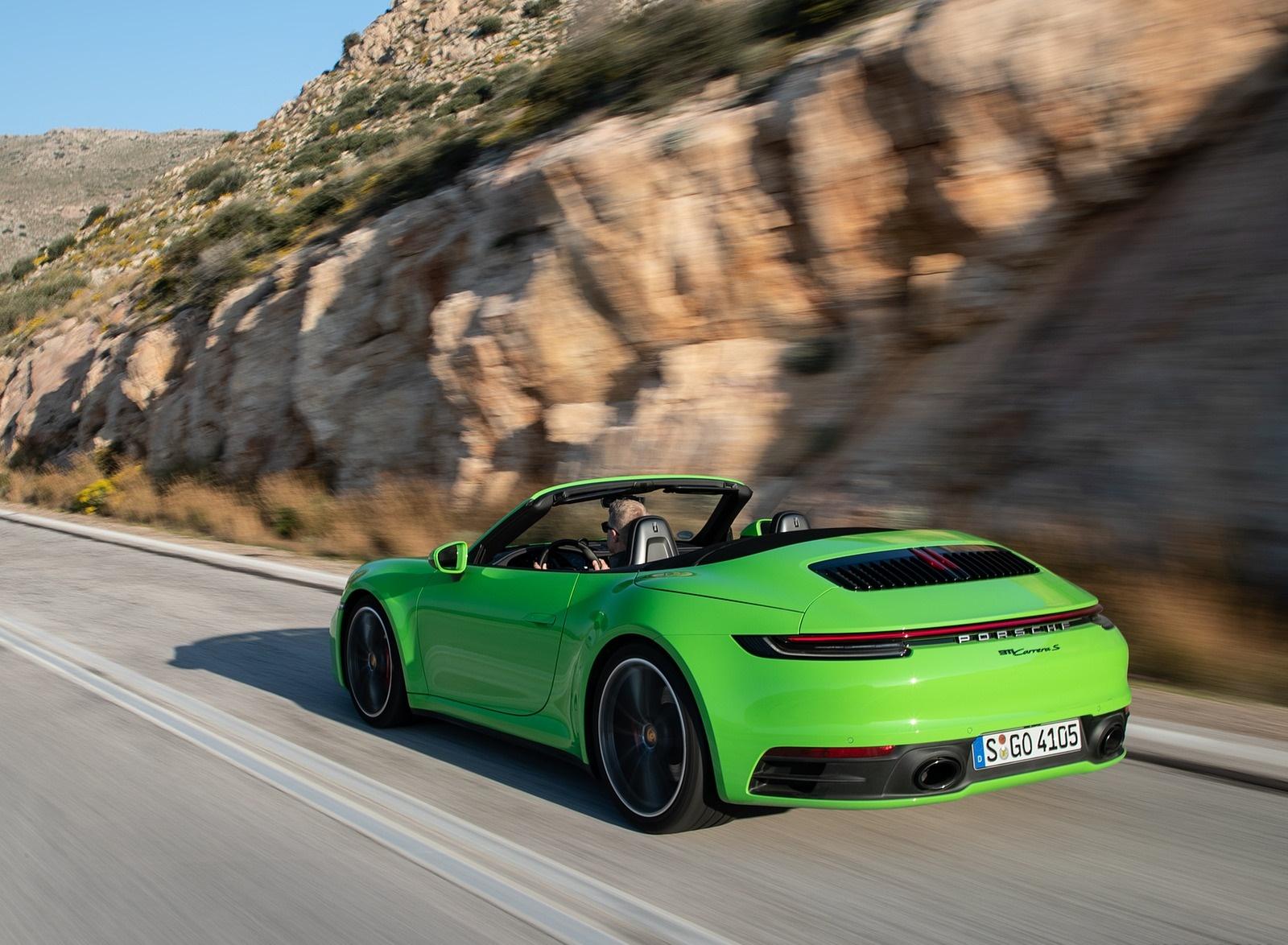 2020 Porsche 911 Carrera S Cabriolet (Color: Lizard Green) Rear Three-Quarter Wallpapers (12)