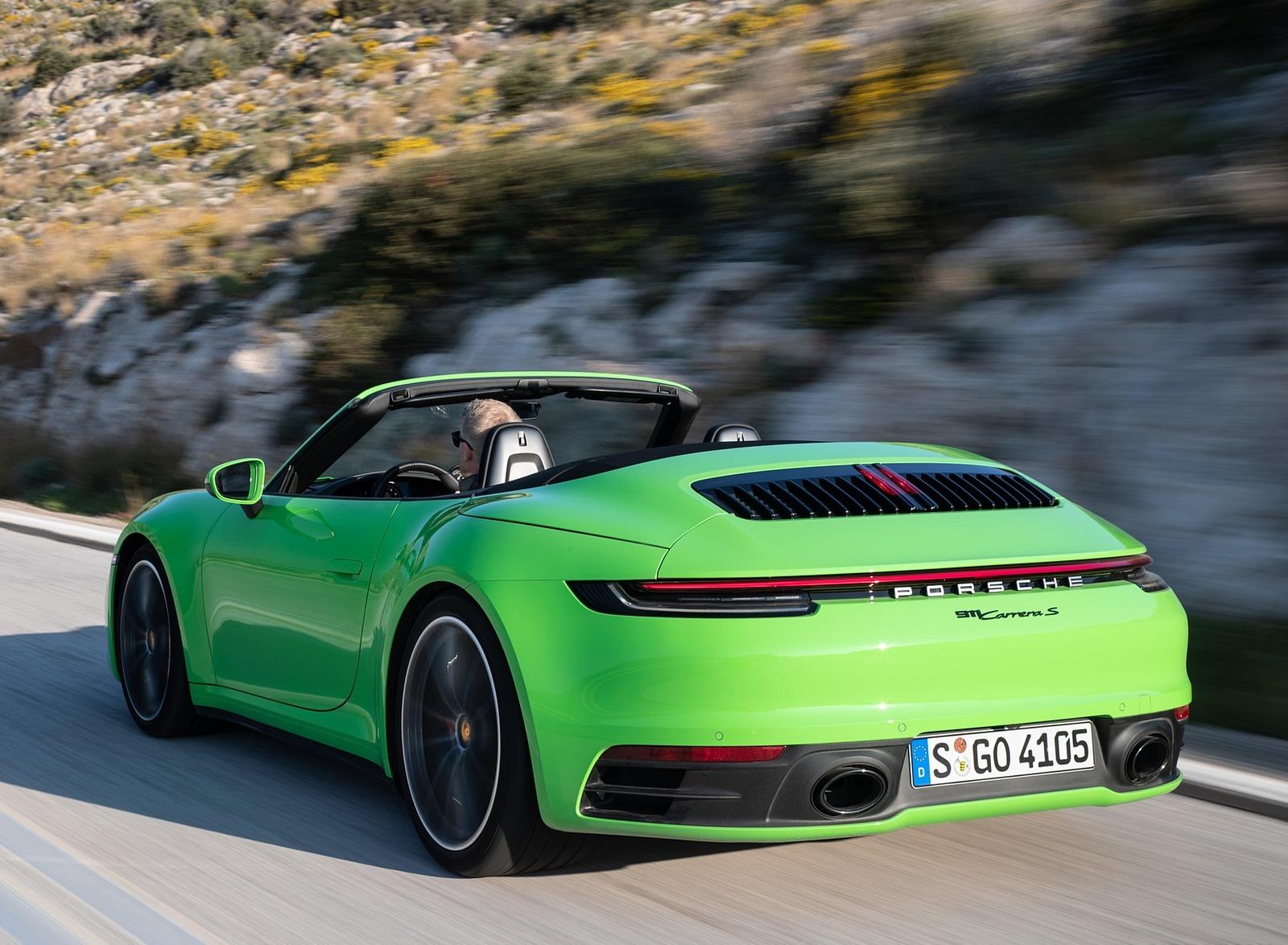 2020 Porsche 911 Carrera S Cabriolet (Color: Lizard Green) Rear Three-Quarter Wallpapers (13)
