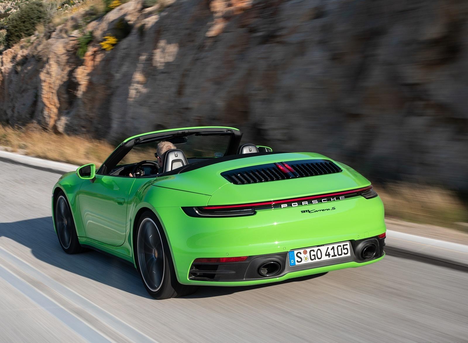 2020 Porsche 911 Carrera S Cabriolet (Color: Lizard Green) Rear Three-Quarter Wallpapers (14)