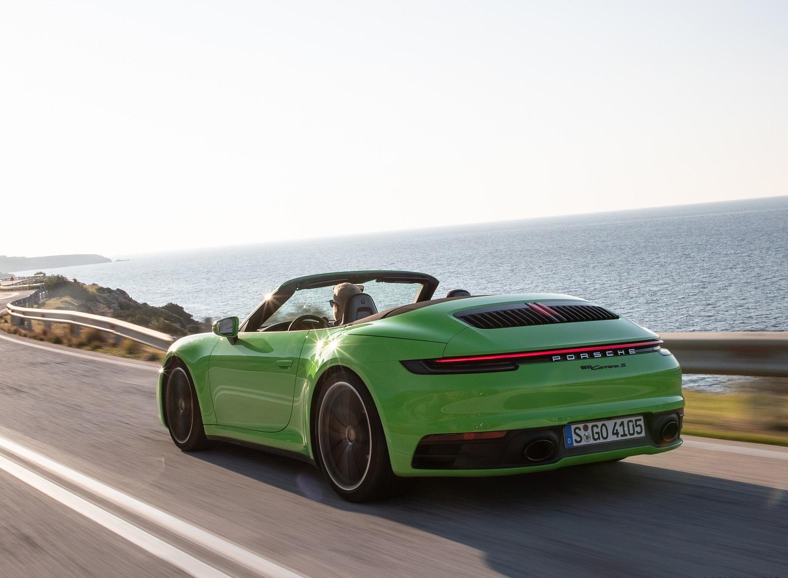 2020 Porsche 911 Carrera S Cabriolet (Color: Lizard Green) Rear Three-Quarter Wallpapers (6)