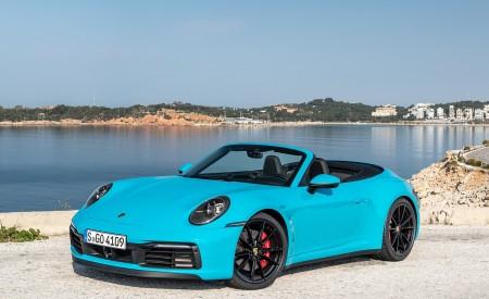 2020 Porsche 911 Carrera S Cabriolet (Color: Miami Blue) Front Three-Quarter Wallpaper 450x275 (93)