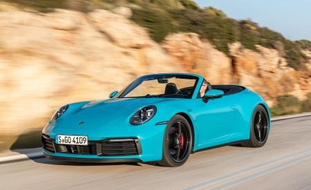 2020 Porsche 911 Carrera S Cabriolet (Color: Miami Blue) Front Three-Quarter Wallpaper 450x275 (80)