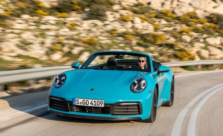 2020 Porsche 911 Carrera S Cabriolet (Color: Miami Blue) Front Wallpaper 450x275 (81)