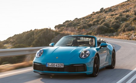 2020 Porsche 911 Carrera S Cabriolet (Color: Miami Blue) Front Wallpaper 450x275 (84)