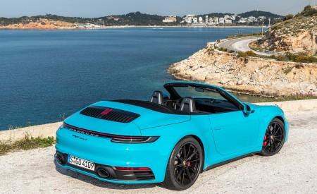 2020 Porsche 911 Carrera S Cabriolet (Color: Miami Blue) Rear Three-Quarter Wallpaper 450x275 (95)