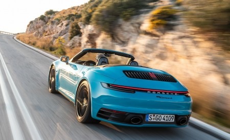 2020 Porsche 911 Carrera S Cabriolet (Color: Miami Blue) Rear Three-Quarter Wallpaper 450x275 (86)