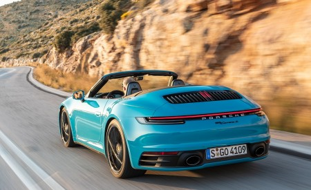 2020 Porsche 911 Carrera S Cabriolet (Color: Miami Blue) Rear Three-Quarter Wallpaper 450x275 (87)