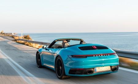 2020 Porsche 911 Carrera S Cabriolet (Color: Miami Blue) Rear Three-Quarter Wallpaper 450x275 (88)