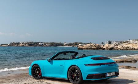 2020 Porsche 911 Carrera S Cabriolet (Color: Miami Blue) Rear Three-Quarter Wallpaper 450x275 (96)