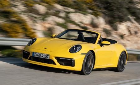 2020 Porsche 911 Carrera S Cabriolet (Color: Racing Yellow) Front Three-Quarter Wallpaper 450x275 (137)