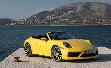2020 Porsche 911 Carrera S Cabriolet (Color: Racing Yellow) Front Three-Quarter Wallpaper 450x275 (151)