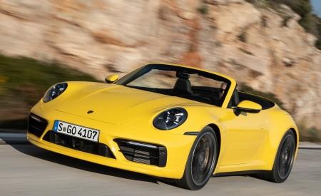 2020 Porsche 911 Carrera S Cabriolet (Color: Racing Yellow) Front Three-Quarter Wallpaper 450x275 (138)