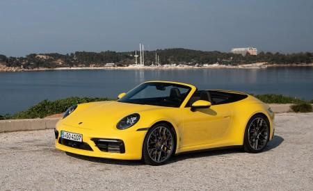 2020 Porsche 911 Carrera S Cabriolet (Color: Racing Yellow) Front Three-Quarter Wallpaper 450x275 (152)
