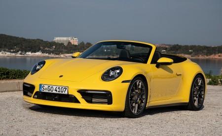 2020 Porsche 911 Carrera S Cabriolet (Color: Racing Yellow) Front Three-Quarter Wallpaper 450x275 (153)